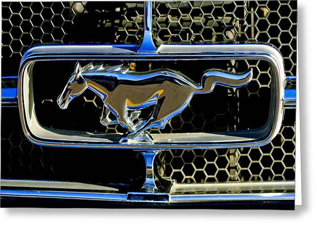 1965 Mustang Greeting Cards - 1965 Ford Shelby Mustang Grille Emblem Greeting Card by Jill Reger