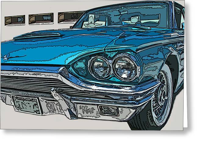 Sheats Greeting Cards - 1965 Ford Thunderbird Greeting Card by Samuel Sheats