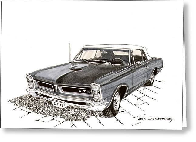 40s Paintings Greeting Cards - 1965 Pontiac GTO Convertible Greeting Card by Jack Pumphrey