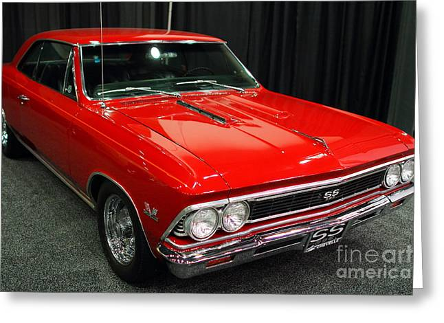 1966 Chevy Chevelle SS 396 . Red . 7D9278 Greeting Card by Wingsdomain Art and Photography