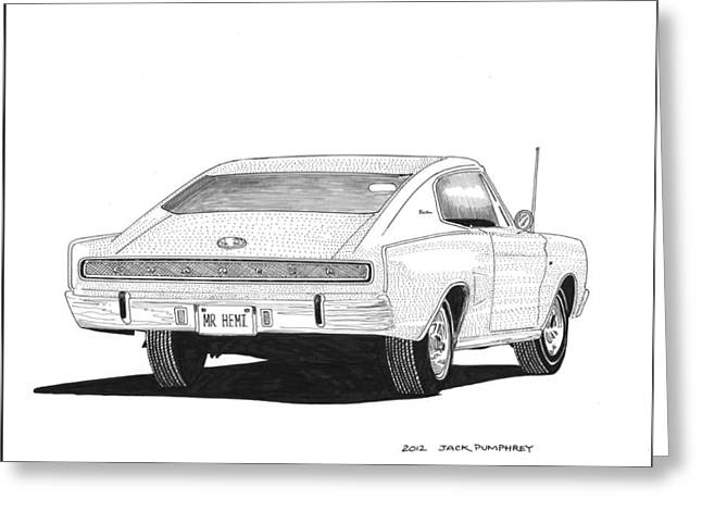 Pen And Ink Framed Prints Greeting Cards - 1966 Dodge Charger Greeting Card by Jack Pumphrey