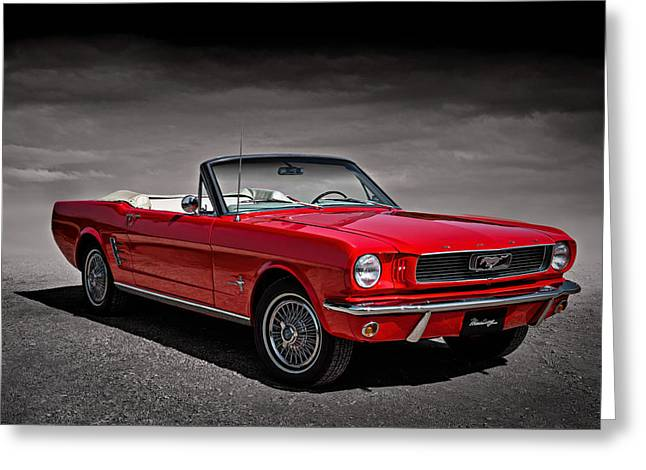 Pony Greeting Cards - 1966 Ford Mustang Convertible Greeting Card by Douglas Pittman