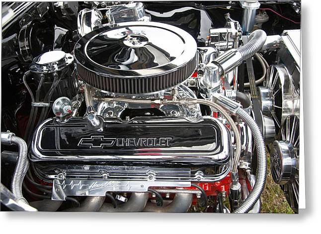 1967 Chevy Chevelle Ss Greeting Cards - 1967 Chevrolet Chevelle SS Engine Greeting Card by Glenn Gordon