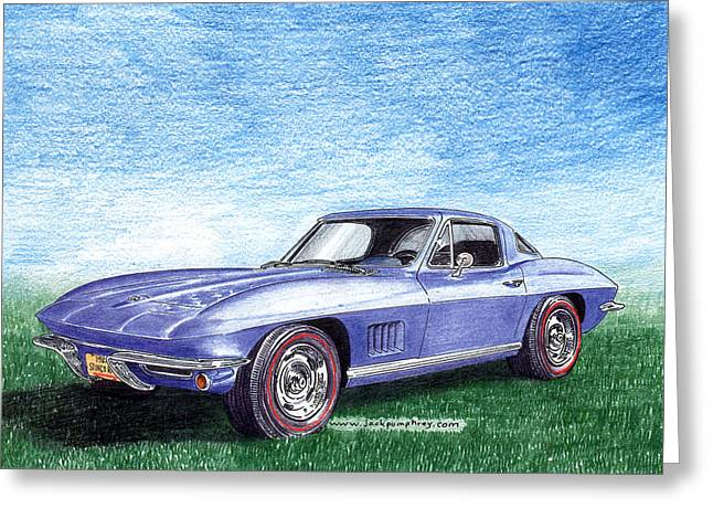 Stretching Drawings Greeting Cards - Tru Blu 1967 Corvette Stingray Greeting Card by Jack Pumphrey