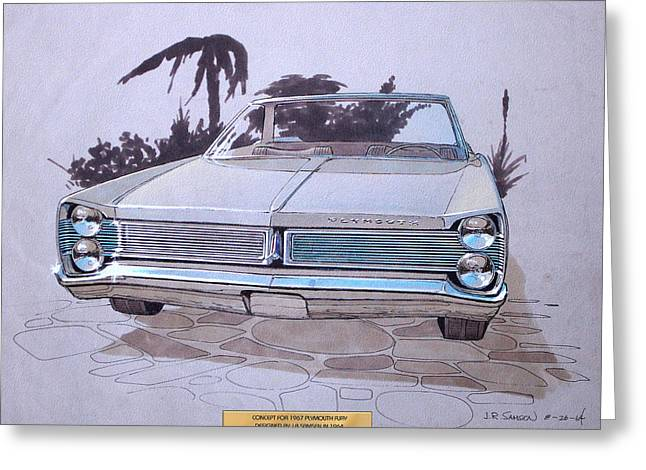 Virgil Greeting Cards - 1967 PLYMOUTH FURY  vintage styling design concept rendering sketch Greeting Card by John Samsen