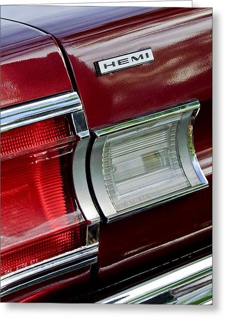 Hemi Greeting Cards - 1967 Plymouth Hemi Taillight  Greeting Card by Jill Reger