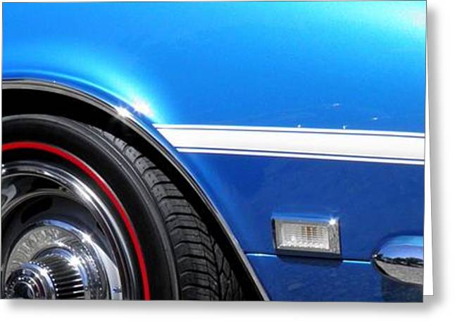 Rally Greeting Cards - 1968 Chevrolet Camaro SS Classic Car Panoramic Fine Art  Greeting Card by Sven Migot
