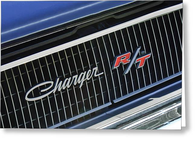 Upgrade Greeting Cards - 1968 Dodge Charger RT Coupe 426 Hemi Upgrade Grille Emblem Greeting Card by Jill Reger