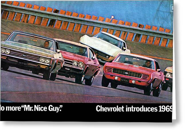 1969 Chevrolet Impala Chevelle Camaro Corvette And Nova Greeting Card by Digital Repro Depot