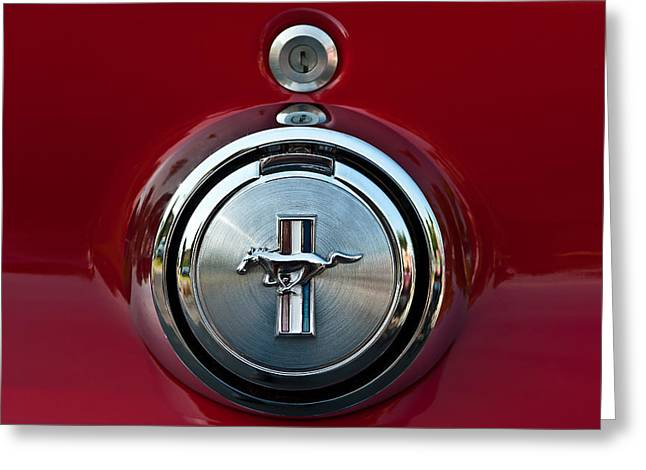 Mach I Greeting Card featuring the photograph 1969 Ford Mustang Mach I Gas Cap by  Onyonet  Photo Studios