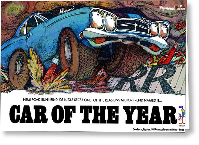 Petty Digital Art Greeting Cards - 1969 Plymouth Road Runner - Car Of The Year Greeting Card by Digital Repro Depot
