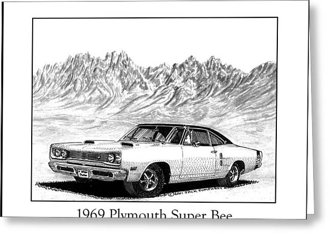 Crisp Drawings Greeting Cards - 1969 Plymouth Super Bee Greeting Card by Jack Pumphrey