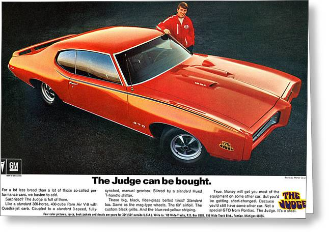 1960-1969 Greeting Cards - 1969 Pontiac GTO The Judge can be bought Greeting Card by Digital Repro Depot