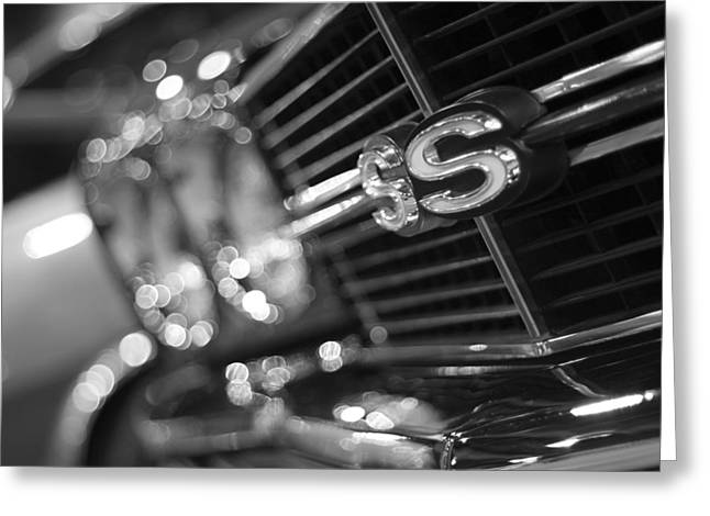V8 Chevelle Greeting Cards - 1970 Chevy Chevelle SS 396 Black and White Greeting Card by Gordon Dean II