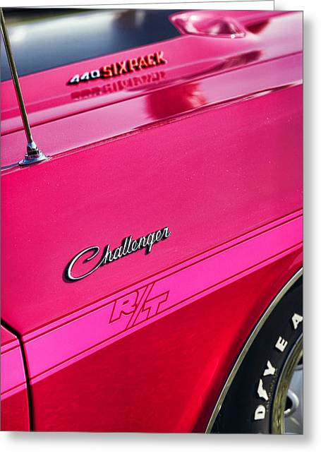 Tickled Pink Greeting Cards - 1970 Dodge Challenger RT 440 SIX PACK - Tickled Pink Greeting Card by Gordon Dean II