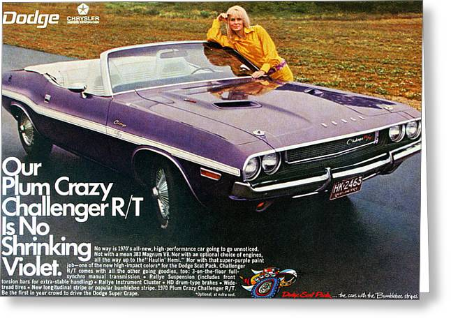 Dragway Greeting Cards - 1970 Dodge Challenger RT Convertible Greeting Card by Digital Repro Depot