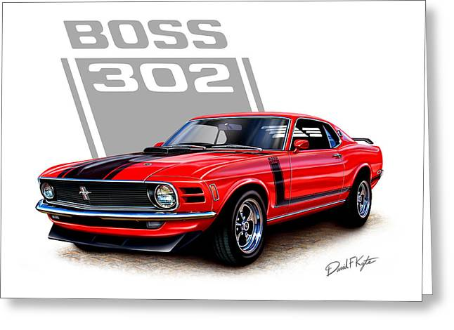 Mustangs Greeting Cards - 1970 Mustang Boss 302 Red Greeting Card by David Kyte