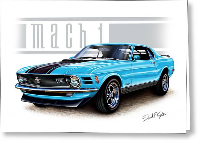 Mach Digital Art Greeting Cards - 1970 Mustang Mach 1 Blue Greeting Card by David Kyte