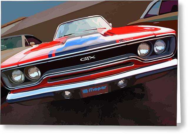 Stock Photography Muscle Digital Art Greeting Cards - 1970 Plymouth GTX Vectorized Greeting Card by Gordon Dean II