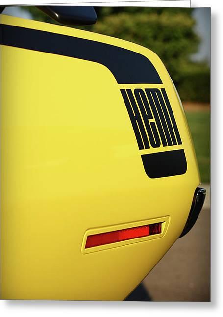 Dragway Greeting Cards - 1970 Plymouth Hemi Cuda Drivers Rear Hockey Stripe Greeting Card by Gordon Dean II