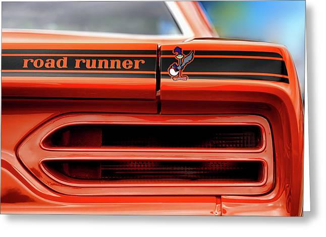 383 Greeting Cards - 1970 Plymouth Road Runner - Vitamin C Orange Greeting Card by Gordon Dean II