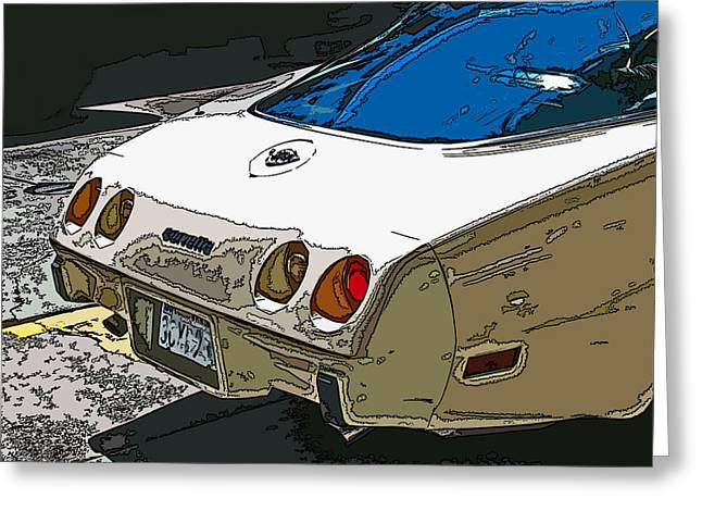 Sheats Greeting Cards - 1970s Chevrolet Corvette Stingray Greeting Card by Samuel Sheats