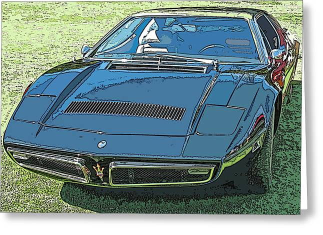 Samuel Sheats Greeting Cards - 1970s Maserati Bora Greeting Card by Samuel Sheats