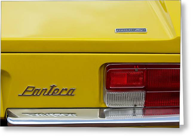 Famous Photographer Greeting Cards - 1971 DeTomaso Pantera Taillight Emblem Greeting Card by Jill Reger