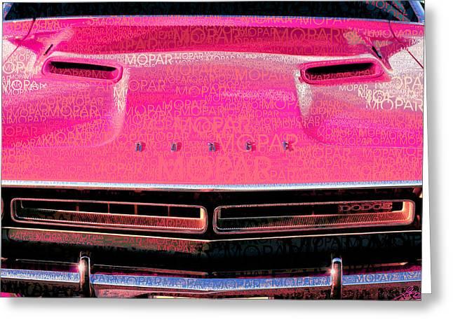1971 Dodge Challenger - Pink Mopar Typography Greeting Card by Gordon Dean II