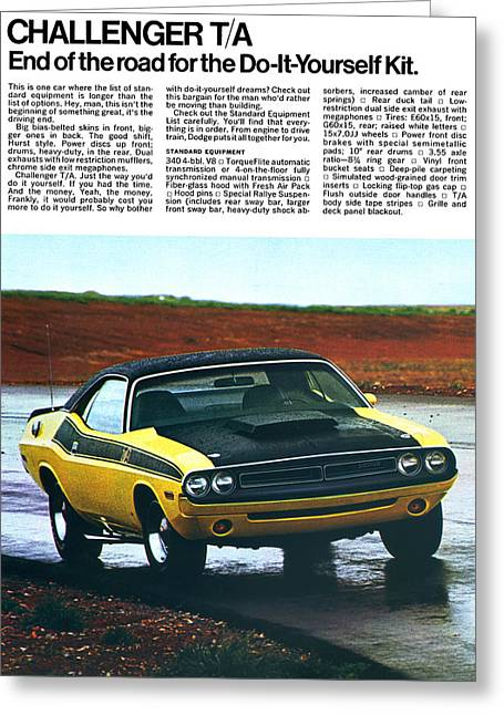 Dragway Greeting Cards - 1971 Dodge Challenger T/A Greeting Card by Digital Repro Depot