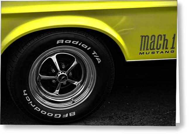 Yellow Cobra Greeting Cards - 1971 Ford Mustang Mach 1 Greeting Card by Gordon Dean II