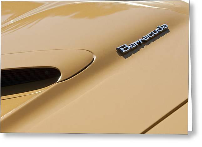318 Greeting Cards - 1971 Plymouth Barracuda Convertible 318 CI Hood Emblem Greeting Card by Jill Reger