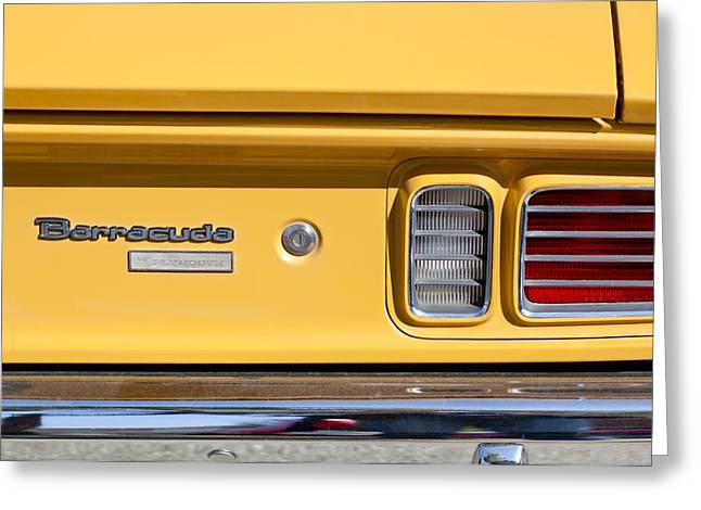 318 Greeting Cards - 1971 Plymouth Barracuda Convertible 318 CI Taillight Emblem Greeting Card by Jill Reger