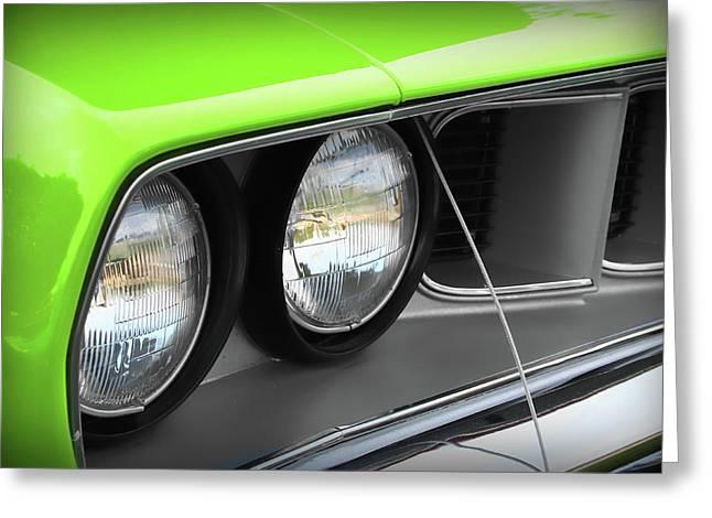 383 Greeting Cards - 1971 Plymouth Barracuda Cuda Sublime Green Greeting Card by Gordon Dean II