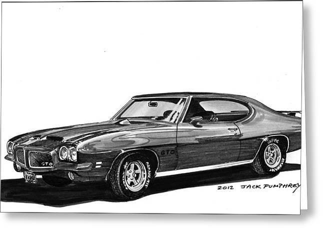 Pen And Ink Framed Prints Greeting Cards - 1971 Pontiac GTO Greeting Card by Jack Pumphrey