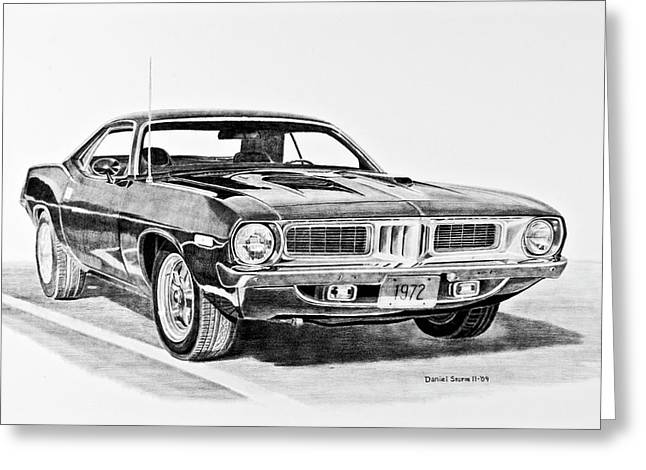 Divisions Drawings Greeting Cards - 1972 Plymouth Barracuda Greeting Card by Daniel Storm