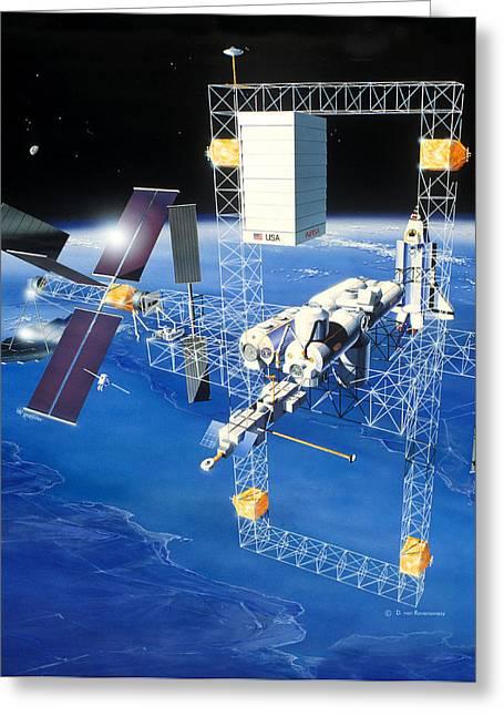 1980s Greeting Cards - 1980s Space Station Design Greeting Card by Detlev Van Ravenswaay