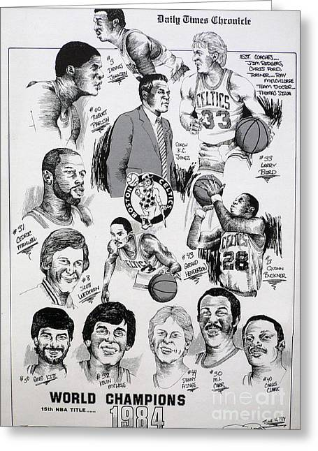 Nba Basketball Drawings Greeting Cards - 1984 Boston Celtics Championship Newspaper Poster Greeting Card by Dave Olsen