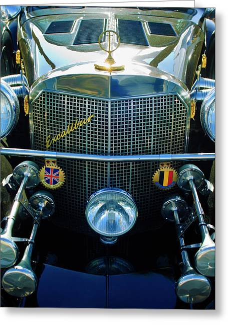 Roadster Grill Greeting Cards - 1984 Excalibur Roadster Grille Greeting Card by Jill Reger