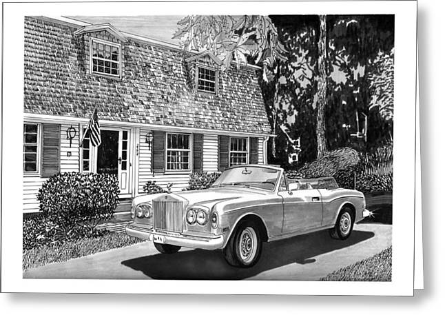 Pen And Ink Framed Prints Greeting Cards - 1986 Rolls Royce Corniche Greeting Card by Jack Pumphrey