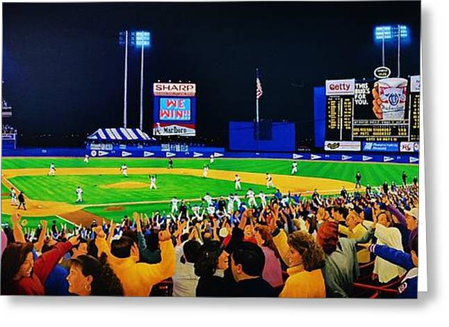 Baseball Stadiums Paintings Greeting Cards - 1986 World  Series at Shea Greeting Card by T Kolendera