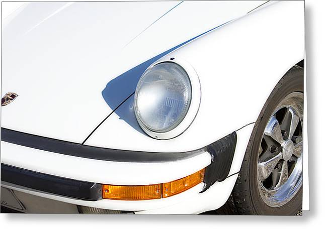 1987 Photographs Greeting Cards - 1987 White Porsche 911 Carrera Front Greeting Card by James BO  Insogna