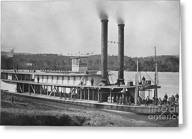 Historic Ship Greeting Cards - 19th Century Army Steamer Greeting Card by Photo Researchers