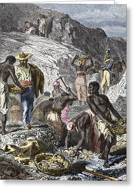 Mines And Miners Greeting Cards - 19th-century Diamond Mining, Brazil Greeting Card by Sheila Terry