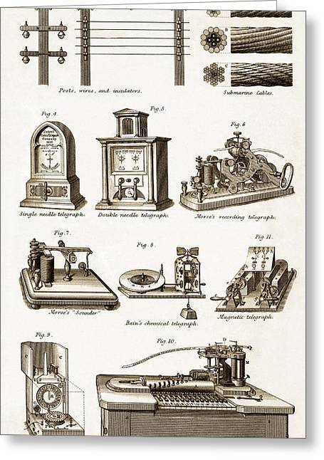 Technical Photographs Greeting Cards - 19th Century Electric Telegraph Equipment Greeting Card by Sheila Terry