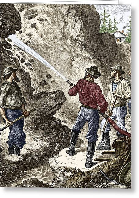 Mines And Miners Greeting Cards - 19th-century Gold Mining, California Greeting Card by Sheila Terry