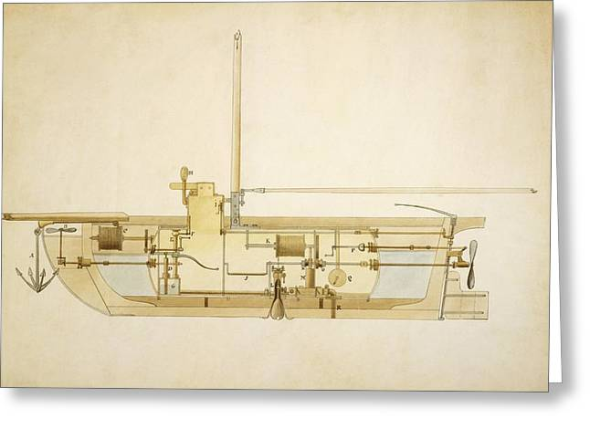 Mechanism Photographs Greeting Cards - 19th Century Military Submarine, Artwork Greeting Card by Library Of Congress