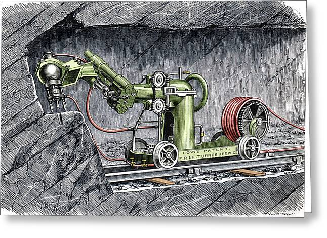 Mines And Miners Greeting Cards - 19th-century Mining Machine Greeting Card by Sheila Terry