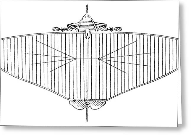 Monoplanes Greeting Cards - 19th Century Monoplane Design Greeting Card by Library Of Congress