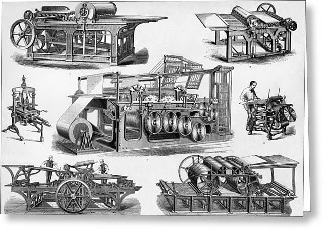 Technical Photographs Greeting Cards - 19th Century Printing Machines Greeting Card by Sheila Terry